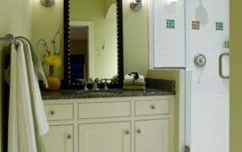 White and Green Bathroom Design