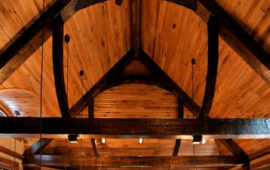 Wood Ceiling Beam Details in Lake Home Main Level