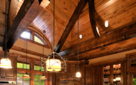 Lake Home Kitchen with Wood Ceiling and Trusses