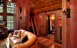 Lake Home with reclaimed wood walls