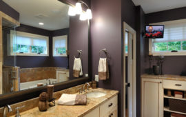 Master Bathroom Ivory Antiqued Cabinets Dark Purple Walls