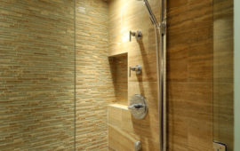 Bathroom Shower with Sandstone-Look Tile