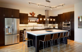 Modern Kitchen Dark Cabinets White Walls