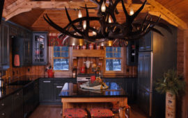 Antler Chandelier and Kitchen