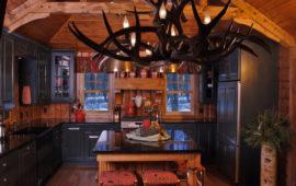 Antler Chandelier and Kitchen