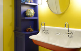 Lower Level Bathroom with Bright Colors and Nautical Decor