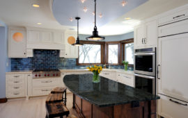 MN Kitchen Remodel White Cabinets Dark Island
