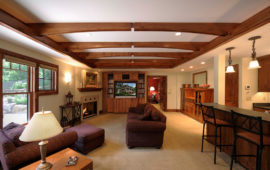 Remodeled Basement with Built-Ins and Bar