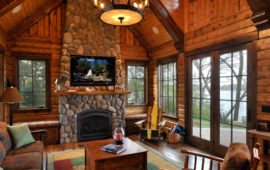 Lake Home Great Room Stone Fireplace