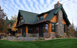 Cedar Shingles Green Trim and Roof