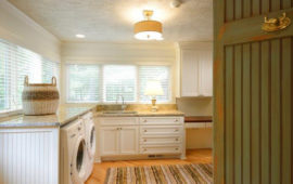 Mudroom White Cabinets Wood Floors