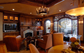 Traditional Family Room with Wood Built-Ins
