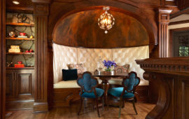 Custom Upholstered Banquette for Home Bar Area