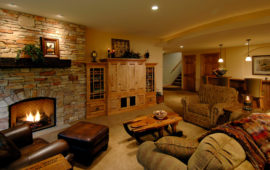 Remodeled Basement with Fireplace
