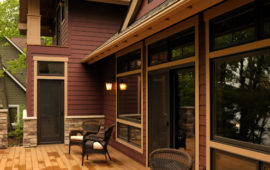 Home Exterior Burgundy Siding Tan Trim
