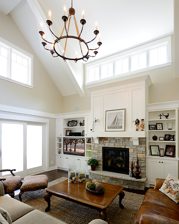 Living Remodel with White Built-Ins