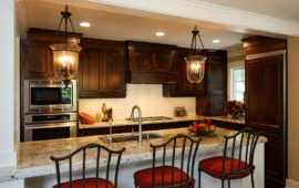 MN Kitchen Design with Dark Cabinets White Breakfast Bar
