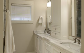 Remodeled Bathroom with Warm White Color Palette