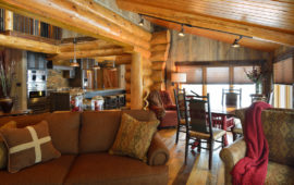 Log Cabin Living Room and Kitchen