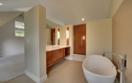 Modern Bathroom with Freestanding Tub, Floating Vanity