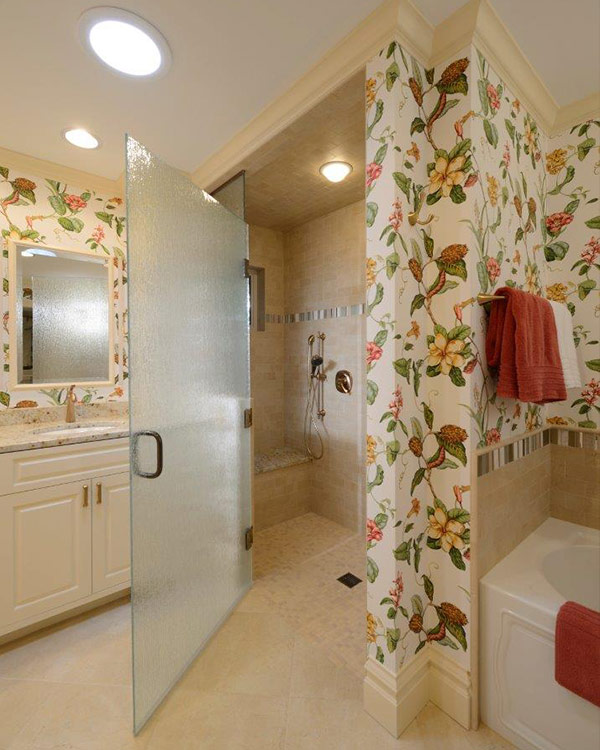 Bathroom remodeled for homeowners who want to Age in Place