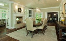Neutral Formal Dining Room See-Through Fireplace