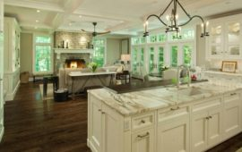 Open Floor Plan Kitchen White Cabinets Wood Breakfast Bar