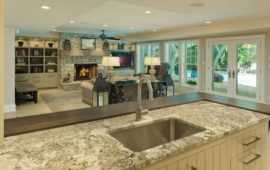 Lower Level Wet Bar and Family Room by Lake Country Builders