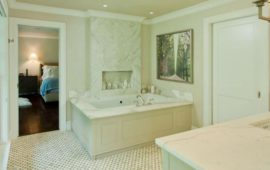 Master Bathroom Large Spa Bathtub Marble Surround