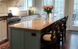 White Cabinets and Teal Island in Kitchen Remodel Excelsior MN
