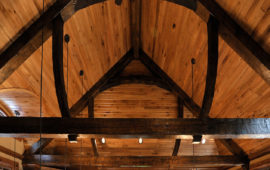 Beam Truss Ceiling Detail in Brainerd Lake Home