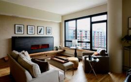Modern Linear Fireplace in Loft