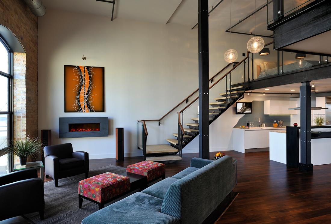 Modern Loft Living Room Kitchen Staircase