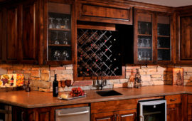 Basement Kitchenette with Custom Cabinets, Wine Rack