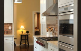 Kitchen with White Cabinets, Brushed Nickel Light Fixtures