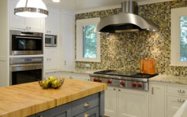 MN Kitchen Remodel Gray Island with Butcher Block