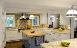 MN Kitchen Remodel White Cabinets Gray Island