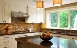 MN Kitchen Remodel White Cabinets Dark Backsplash and Counters