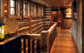 Log Cabin Hallway Wood Walls and Railings