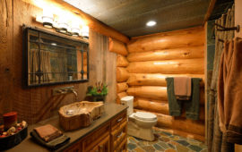 Log Cabin-Style Lake Home Master Bathroom
