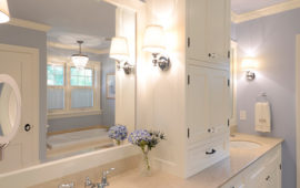 Master Bathroom White Custom Cabinets Lavender Walls