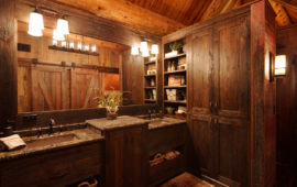 Rustic Lake Home Master Bath with Barn Door