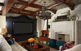 Custom Lower Level Entertainment Room with Luxe Antique Feel