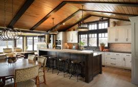 Custom Kitchen Design MN Dark Island White Cabinets