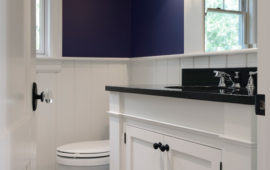 Remodeled Powder Room with Beadboard, White Cabinetry