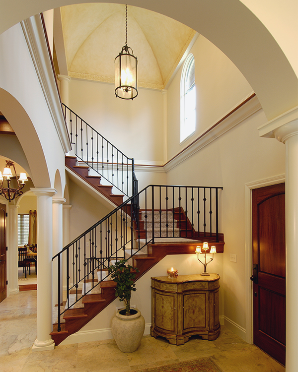 Arches and Columns in Remodeled Home Entryway