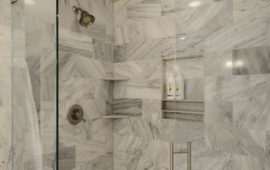 Marble Tile Shower in Remodeled Bathroom