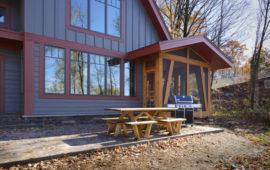 Backyard of Custom Lake Home