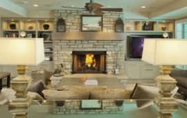 Remodeled Lower Level Family Room with Fireplace and Built-ins